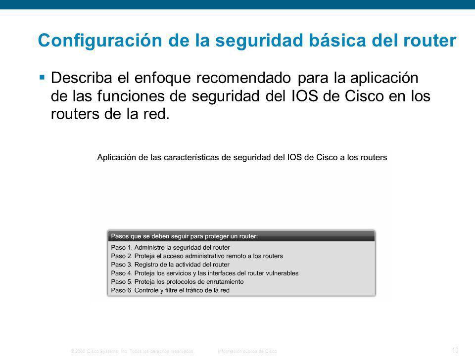 © 2006 Cisco Systems, Inc. Todos los derechos reservados.Información pública de Cisco 10 Configuración de la seguridad básica del router Describa el e