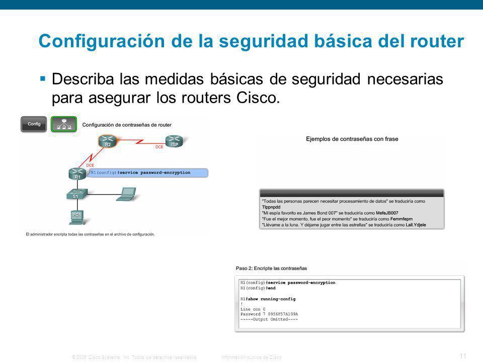 © 2006 Cisco Systems, Inc. Todos los derechos reservados.Información pública de Cisco 11 Configuración de la seguridad básica del router Describa las
