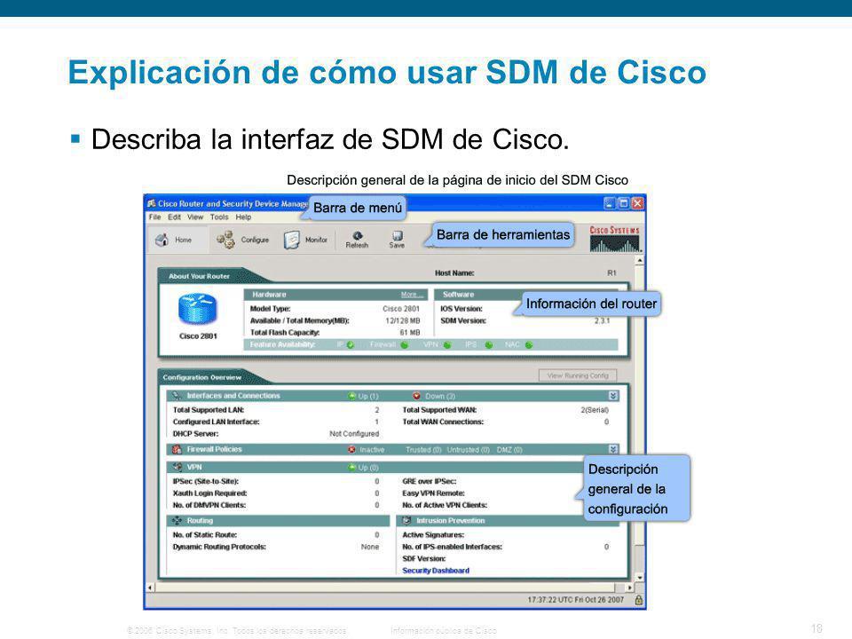 © 2006 Cisco Systems, Inc. Todos los derechos reservados.Información pública de Cisco 18 Explicación de cómo usar SDM de Cisco Describa la interfaz de