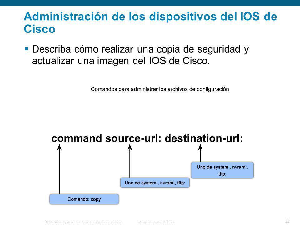 © 2006 Cisco Systems, Inc. Todos los derechos reservados.Información pública de Cisco 22 Administración de los dispositivos del IOS de Cisco Describa