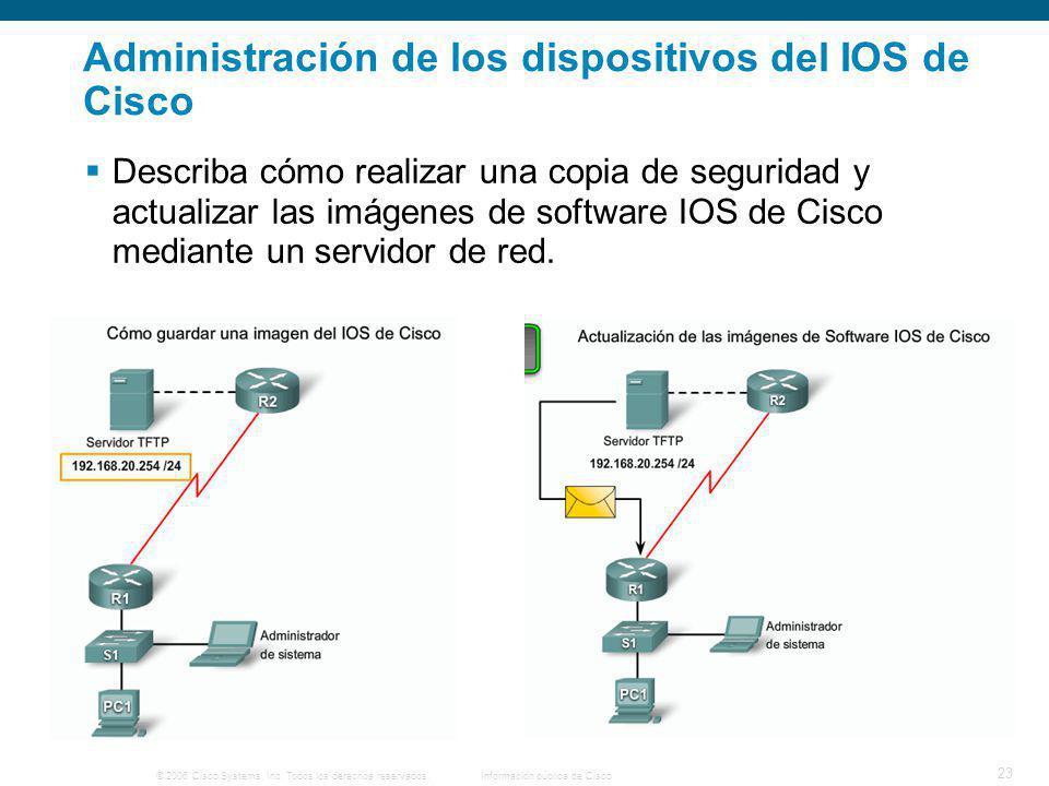 © 2006 Cisco Systems, Inc. Todos los derechos reservados.Información pública de Cisco 23 Administración de los dispositivos del IOS de Cisco Describa