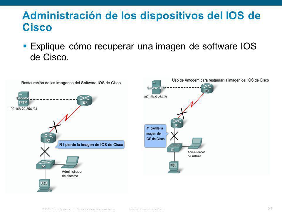 © 2006 Cisco Systems, Inc. Todos los derechos reservados.Información pública de Cisco 24 Administración de los dispositivos del IOS de Cisco Explique