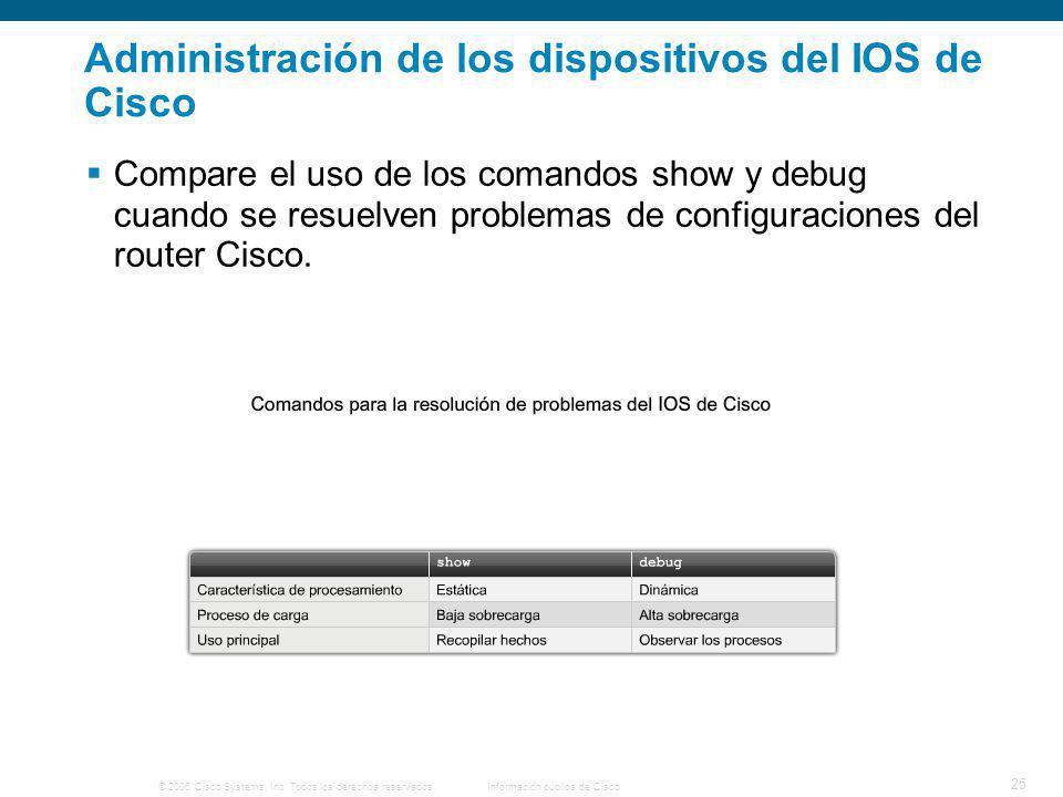 © 2006 Cisco Systems, Inc. Todos los derechos reservados.Información pública de Cisco 25 Administración de los dispositivos del IOS de Cisco Compare e