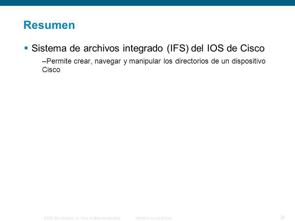 © 2006 Cisco Systems, Inc. Todos los derechos reservados.Información pública de Cisco 29 Resumen Sistema de archivos integrado (IFS) del IOS de Cisco