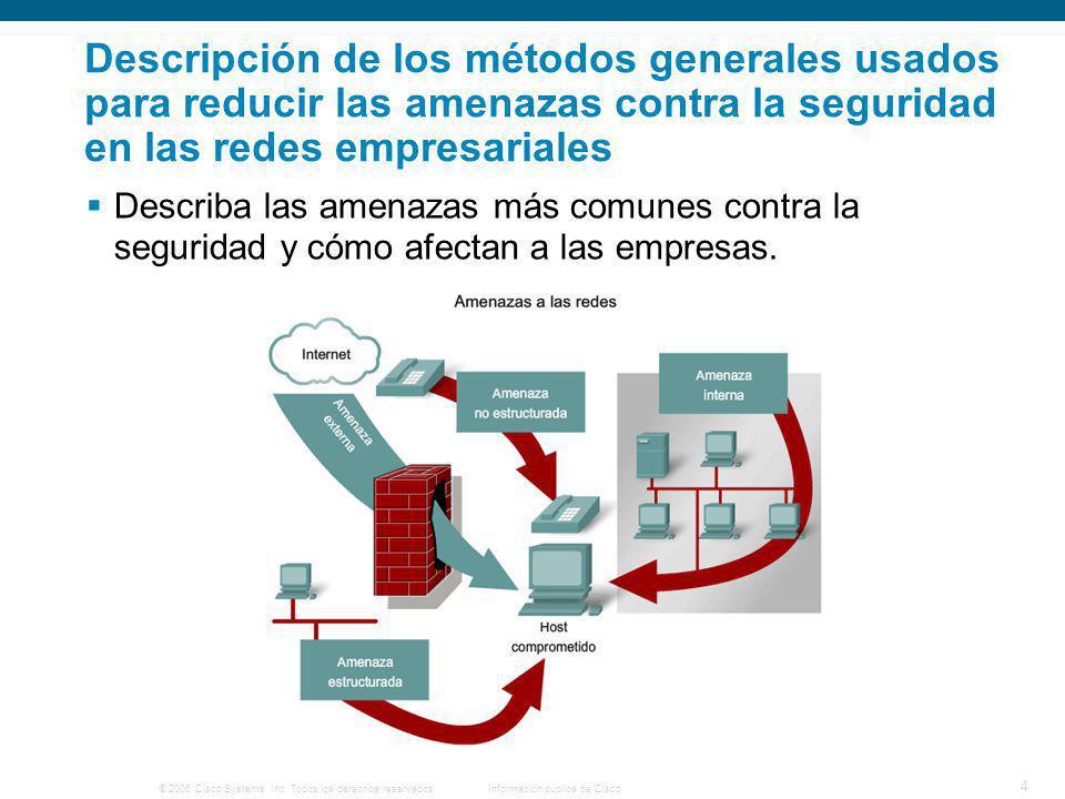 © 2006 Cisco Systems, Inc. Todos los derechos reservados.Información pública de Cisco 4 Descripción de los métodos generales usados para reducir las a