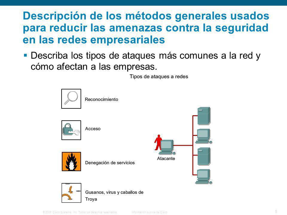 © 2006 Cisco Systems, Inc. Todos los derechos reservados.Información pública de Cisco 5 Descripción de los métodos generales usados para reducir las a