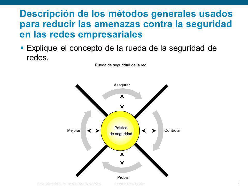 © 2006 Cisco Systems, Inc. Todos los derechos reservados.Información pública de Cisco 7 Descripción de los métodos generales usados para reducir las a