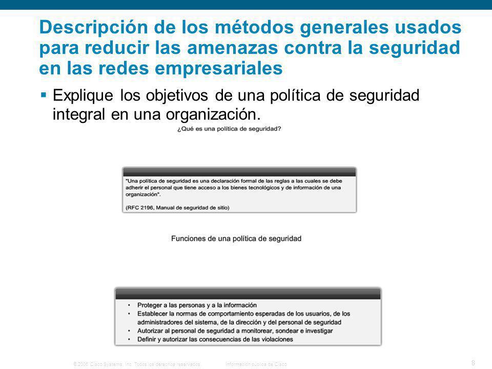 © 2006 Cisco Systems, Inc. Todos los derechos reservados.Información pública de Cisco 8 Descripción de los métodos generales usados para reducir las a