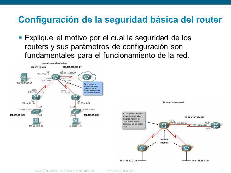 © 2006 Cisco Systems, Inc. Todos los derechos reservados.Información pública de Cisco 9 Configuración de la seguridad básica del router Explique el mo