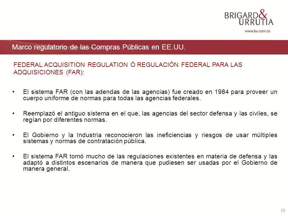 10 Marco regulatorio de las Compras Públicas en EE.UU.