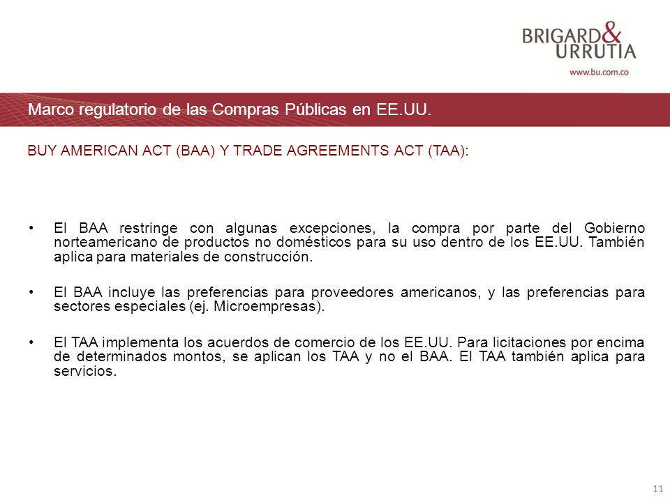 11 Marco regulatorio de las Compras Públicas en EE.UU.