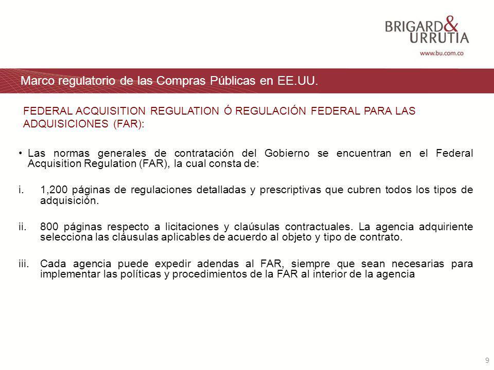 9 Marco regulatorio de las Compras Públicas en EE.UU.