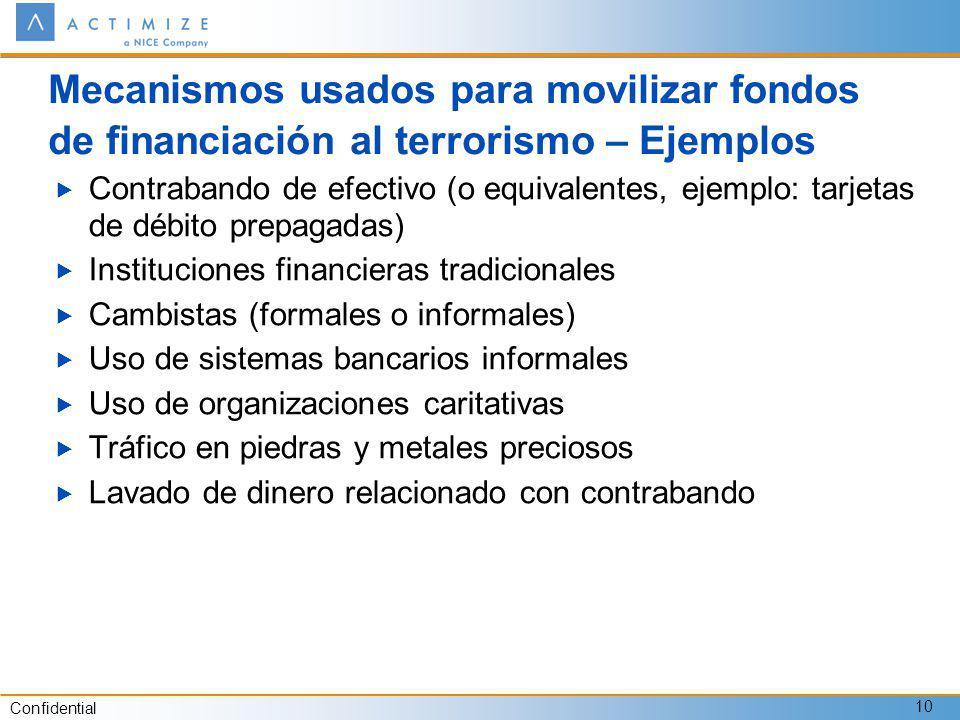 Confidential 10 Mecanismos usados para movilizar fondos de financiación al terrorismo – Ejemplos Contrabando de efectivo (o equivalentes, ejemplo: tar