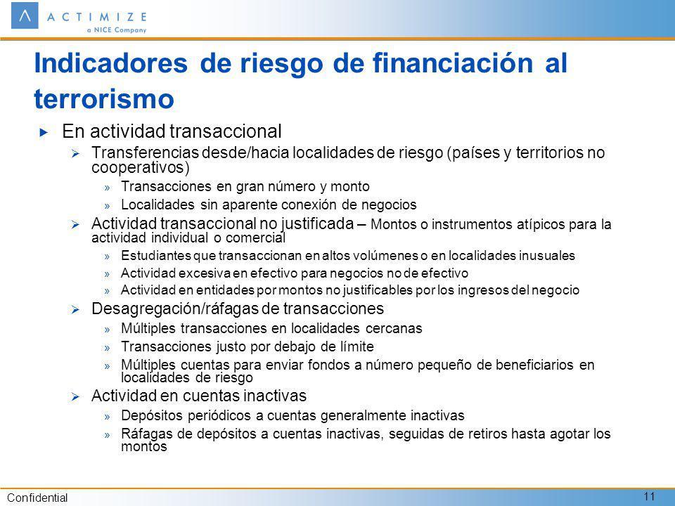 Confidential 11 Indicadores de riesgo de financiación al terrorismo En actividad transaccional Transferencias desde/hacia localidades de riesgo (paíse