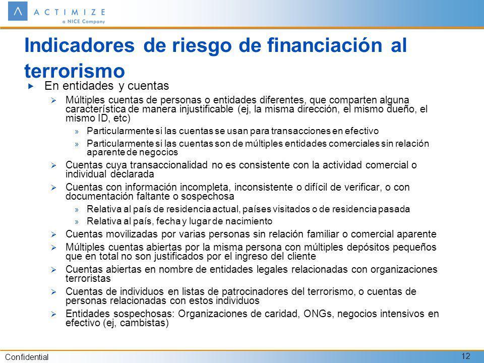 Confidential 12 Indicadores de riesgo de financiación al terrorismo En entidades y cuentas Múltiples cuentas de personas o entidades diferentes, que c