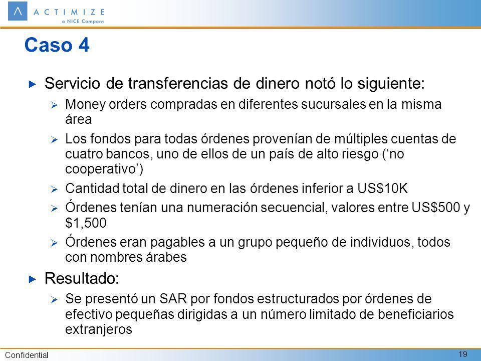 Confidential 19 Caso 4 Servicio de transferencias de dinero notó lo siguiente: Money orders compradas en diferentes sucursales en la misma área Los fo