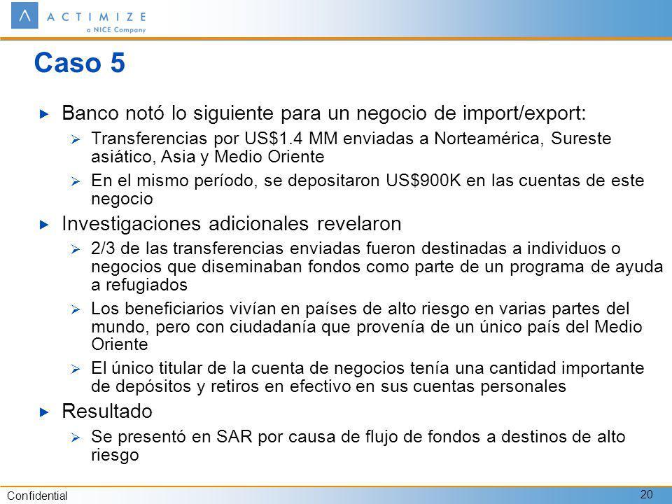 Confidential 20 Caso 5 Banco notó lo siguiente para un negocio de import/export: Transferencias por US$1.4 MM enviadas a Norteamérica, Sureste asiátic