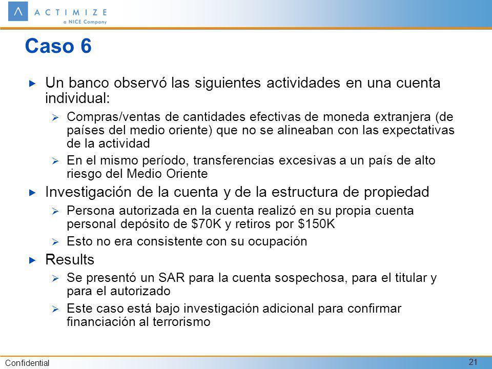 Confidential 21 Caso 6 Un banco observó las siguientes actividades en una cuenta individual: Compras/ventas de cantidades efectivas de moneda extranje