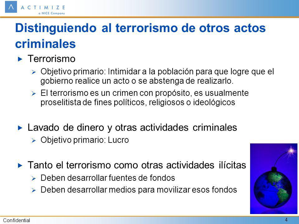 Confidential 4 Distinguiendo al terrorismo de otros actos criminales Terrorismo Objetivo primario: Intimidar a la población para que logre que el gobierno realice un acto o se abstenga de realizarlo.