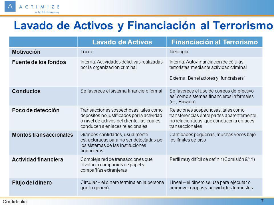 Confidential 7 Lavado de Activos y Financiación al Terrorismo Lavado de ActivosFinanciación al Terrorismo Motivación LucroIdeología Fuente de los fond