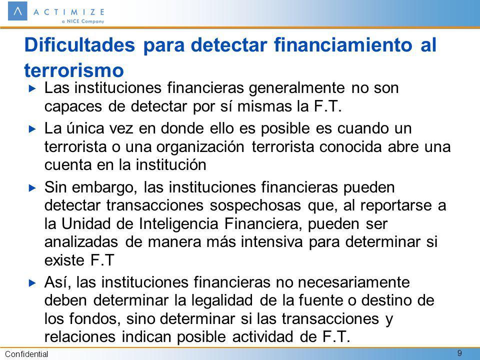 Confidential 9 Dificultades para detectar financiamiento al terrorismo Las instituciones financieras generalmente no son capaces de detectar por sí mismas la F.T.