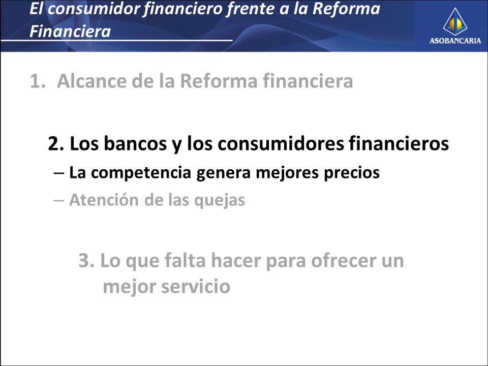El consumidor financiero frente a la Reforma Financiera 1.Alcance de la Reforma financiera 2.