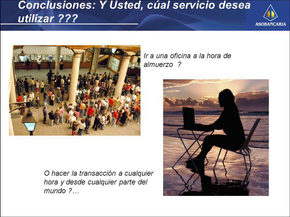 Conclusiones: Y Usted, cúal servicio desea utilizar ??.