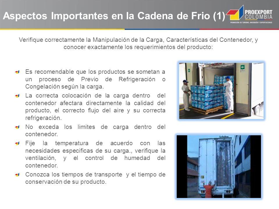 Aspectos Importantes en la Cadena de Frio (2) Verifique que la compañía de transporte terrestre (Nacional, e Internacional) conozca la temperatura a la cual debe estar su producto.