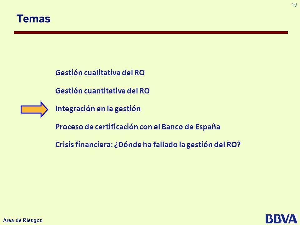 16 Área de Riesgos Temas Gestión cualitativa del RO Gestión cuantitativa del RO Integración en la gestión Proceso de certificación con el Banco de Esp