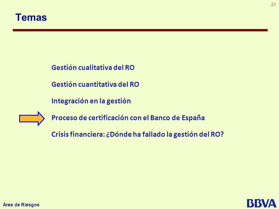 21 Área de Riesgos Temas Gestión cualitativa del RO Gestión cuantitativa del RO Integración en la gestión Proceso de certificación con el Banco de Esp