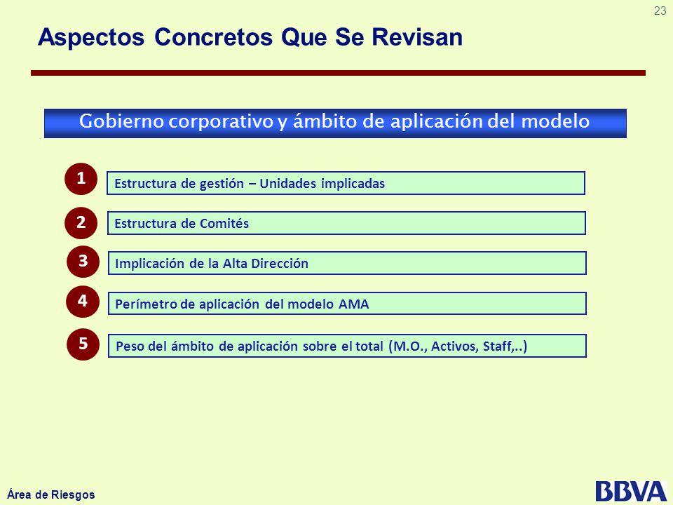 23 Área de Riesgos Aspectos Concretos Que Se Revisan Gobierno corporativo y ámbito de aplicación del modelo Estructura de gestión – Unidades implicada