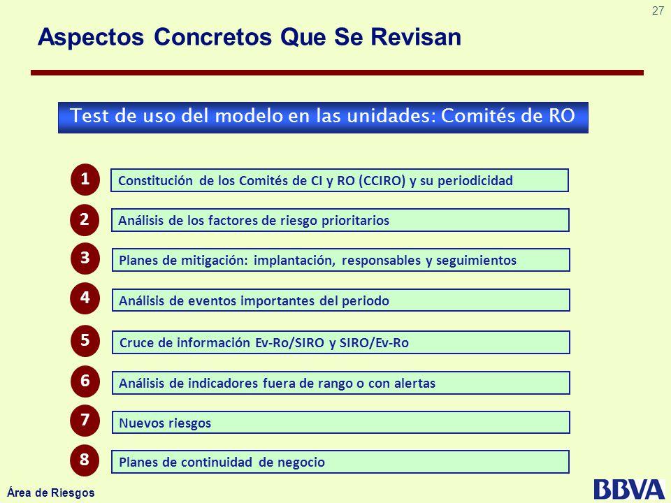 27 Área de Riesgos Aspectos Concretos Que Se Revisan Test de uso del modelo en las unidades: Comités de RO Constitución de los Comités de CI y RO (CCI
