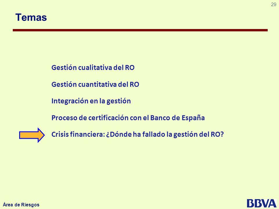 29 Área de Riesgos Temas Gestión cualitativa del RO Gestión cuantitativa del RO Integración en la gestión Proceso de certificación con el Banco de Esp