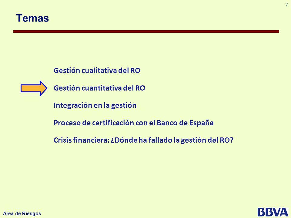 7 Área de Riesgos Temas Gestión cualitativa del RO Gestión cuantitativa del RO Integración en la gestión Proceso de certificación con el Banco de Espa