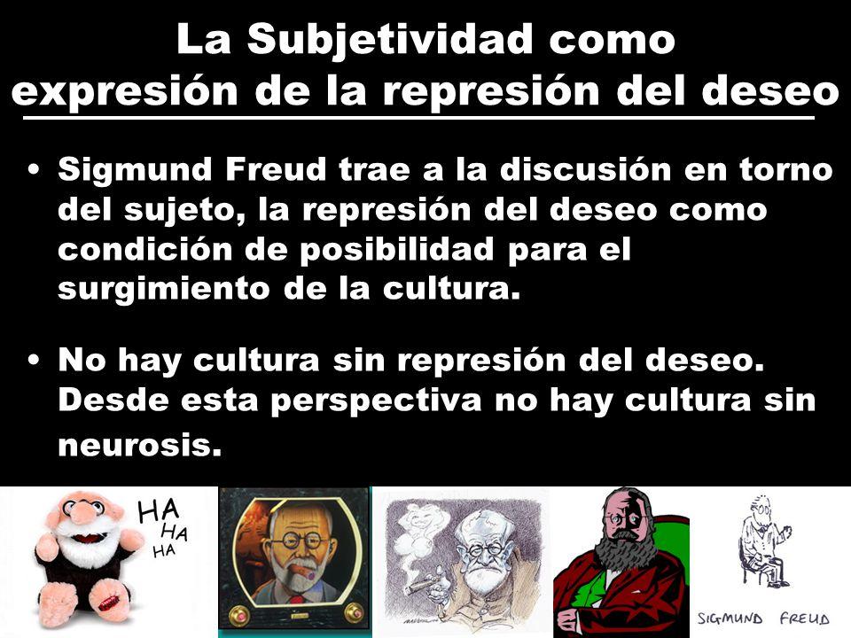 La Subjetividad como expresión de la represión del deseo Sigmund Freud trae a la discusión en torno del sujeto, la represión del deseo como condición de posibilidad para el surgimiento de la cultura.