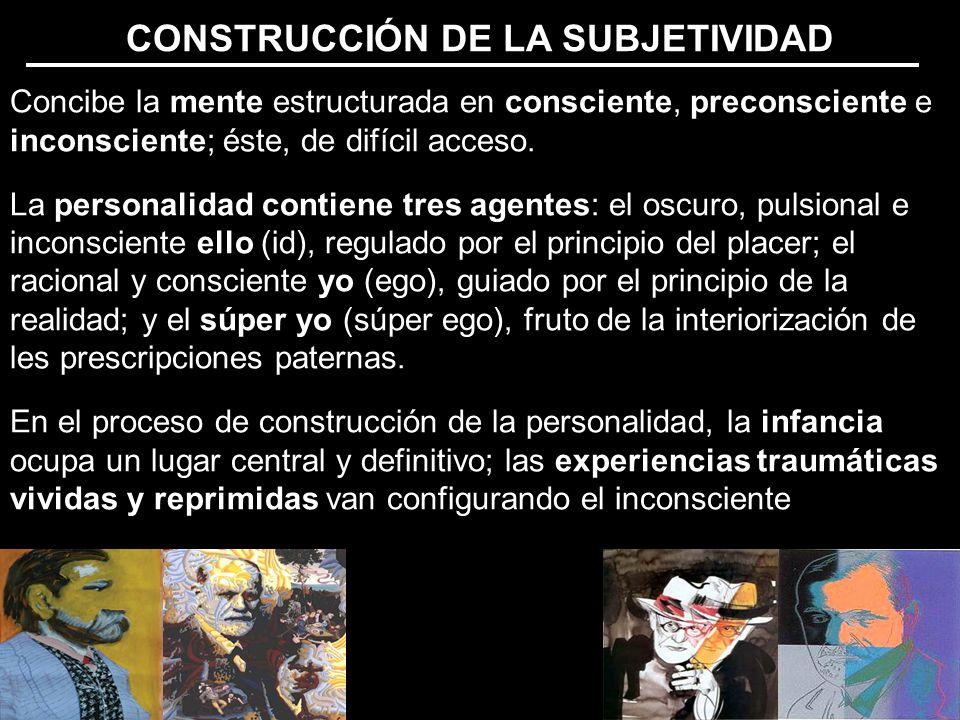 CONSTRUCCIÓN DE LA SUBJETIVIDAD Concibe la mente estructurada en consciente, preconsciente e inconsciente; éste, de difícil acceso.