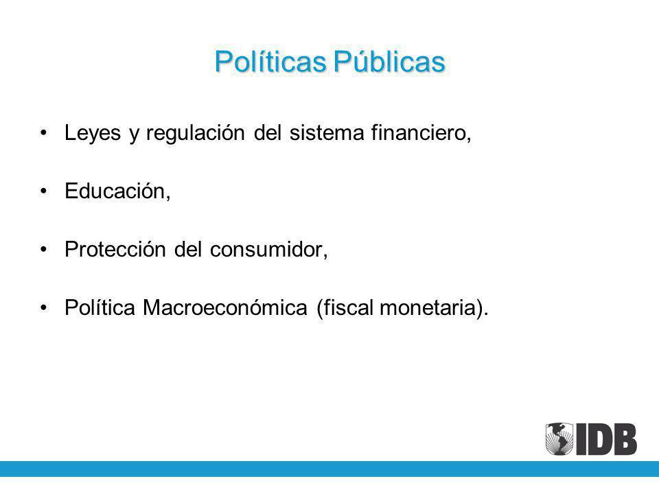 Políticas Públicas Leyes y regulación del sistema financiero, Educación, Protección del consumidor, Política Macroeconómica (fiscal monetaria).