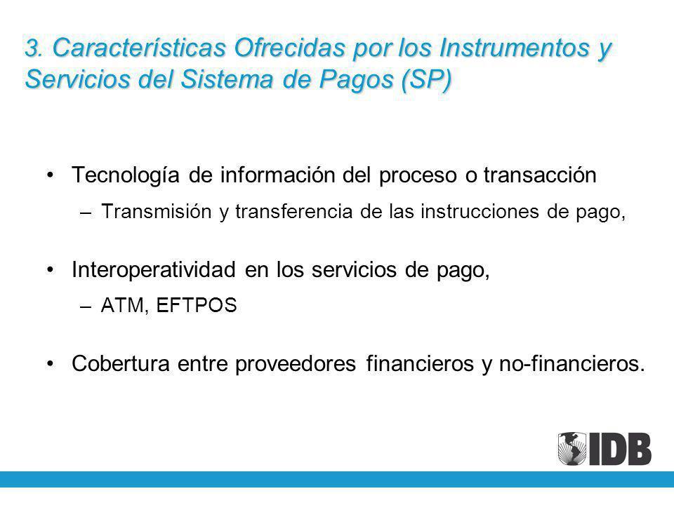 3 Características Ofrecidas por los Instrumentos y Servicios del Sistema de Pagos (SP) 3. Características Ofrecidas por los Instrumentos y Servicios d