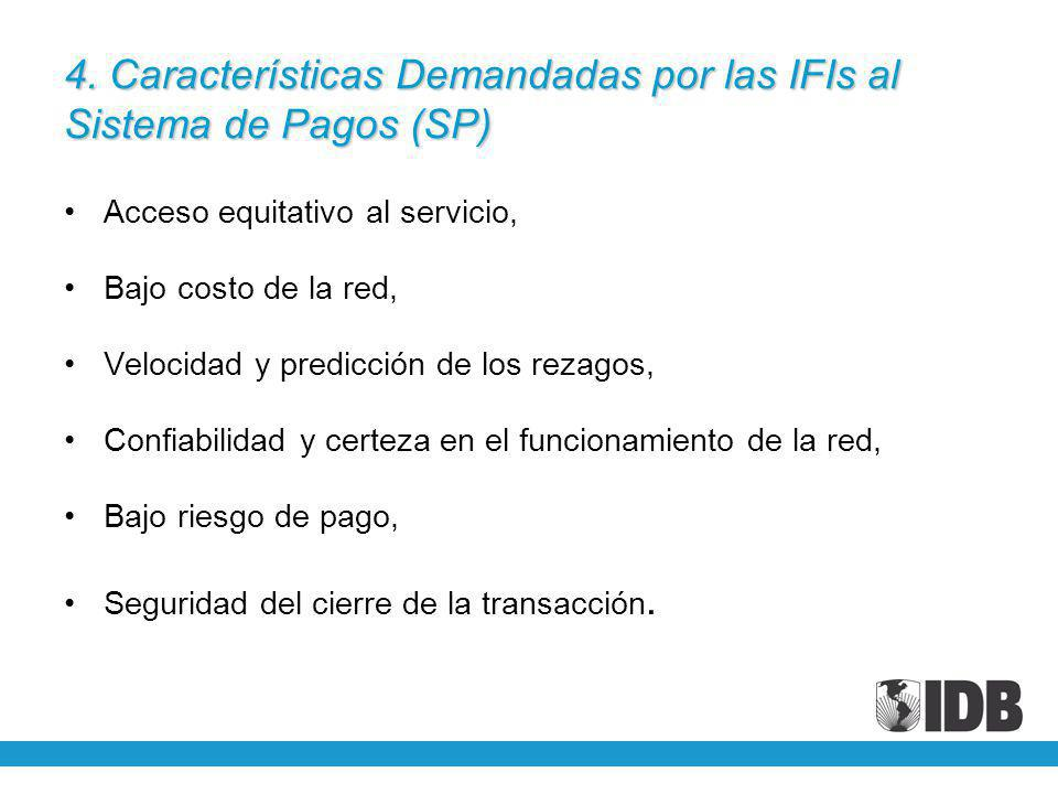 4. Características Demandadas por las IFIs al Sistema de Pagos (SP) Acceso equitativo al servicio, Bajo costo de la red, Velocidad y predicción de los