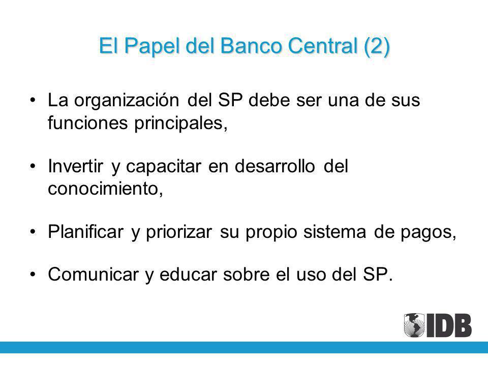 El Papel del Banco Central (2) La organización del SP debe ser una de sus funciones principales, Invertir y capacitar en desarrollo del conocimiento, Planificar y priorizar su propio sistema de pagos, Comunicar y educar sobre el uso del SP.