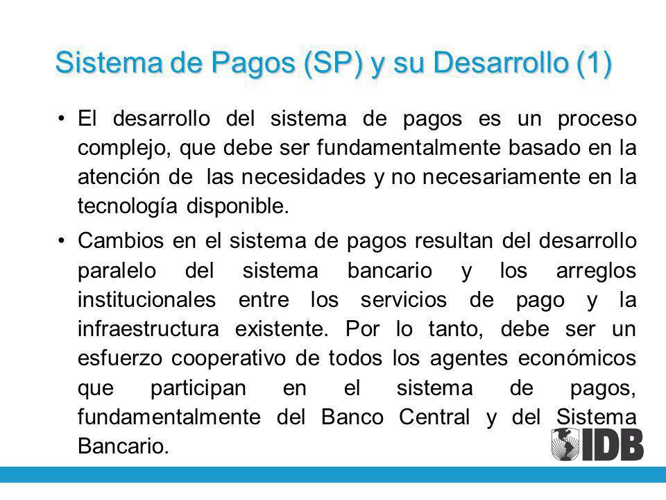 Sistema de Pagos (SP) y su Desarrollo (1) El desarrollo del sistema de pagos es un proceso complejo, que debe ser fundamentalmente basado en la atención de las necesidades y no necesariamente en la tecnología disponible.
