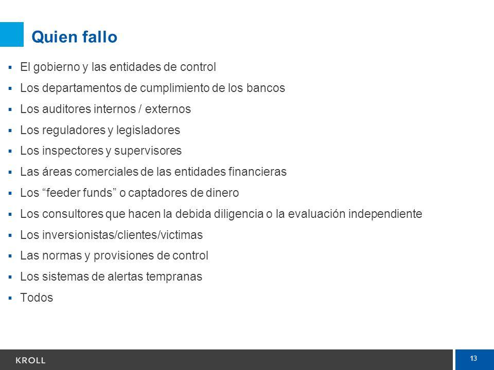 13 Quien fallo El gobierno y las entidades de control Los departamentos de cumplimiento de los bancos Los auditores internos / externos Los reguladore
