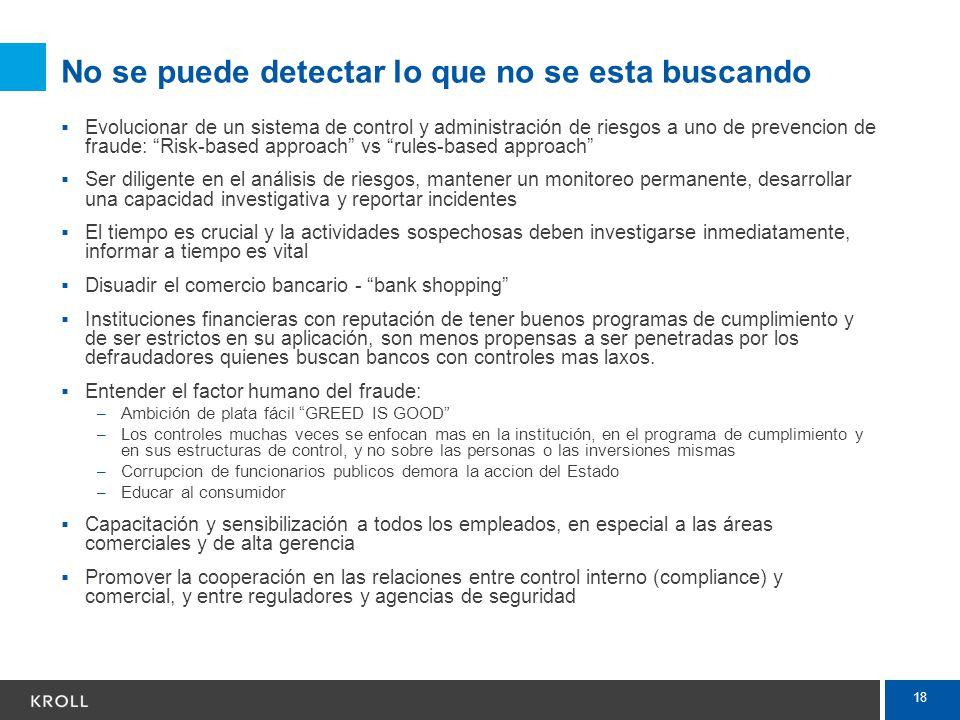 18 No se puede detectar lo que no se esta buscando Evolucionar de un sistema de control y administración de riesgos a uno de prevencion de fraude: Ris
