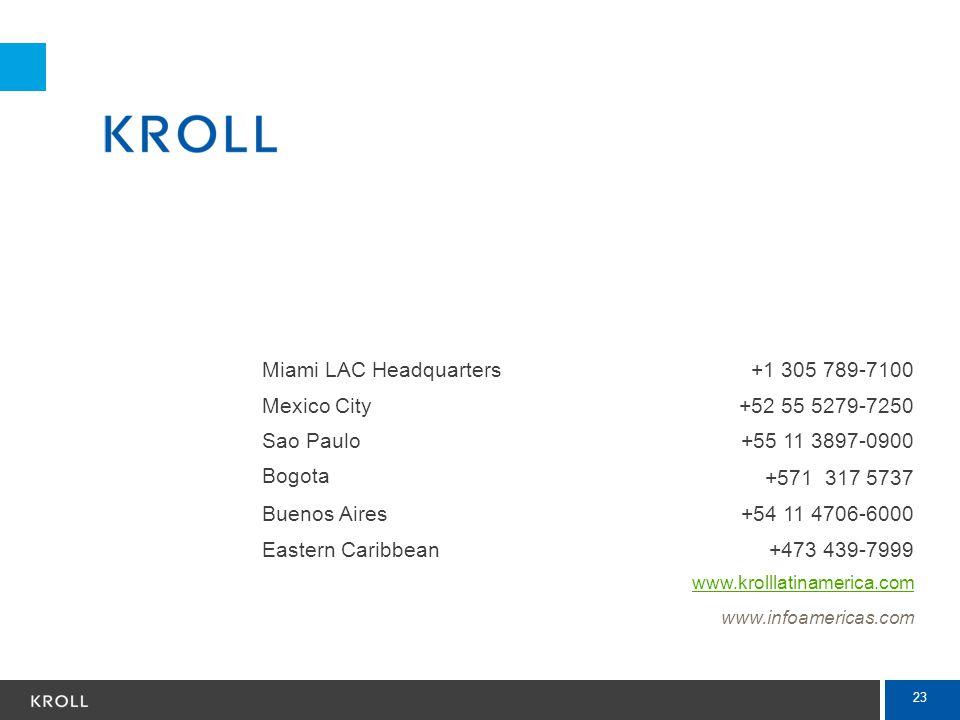 23 Miami LAC Headquarters+1 305 789-7100 Mexico City+52 55 5279-7250 Sao Paulo+55 11 3897-0900 Bogota +571 317 5737 Buenos Aires+54 11 4706-6000 Easte