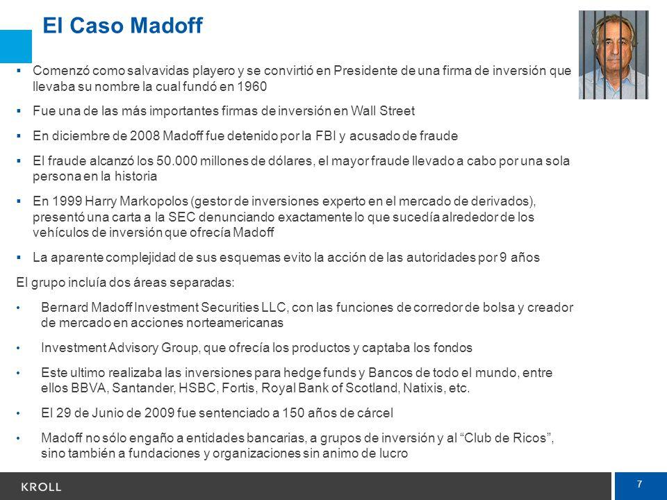 7 El Caso Madoff Comenzó como salvavidas playero y se convirtió en Presidente de una firma de inversión que llevaba su nombre la cual fundó en 1960 Fu