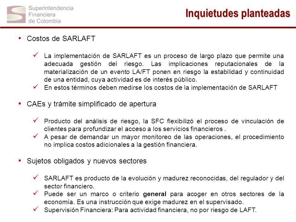 Inquietudes planteadas Costos de SARLAFT La implementación de SARLAFT es un proceso de largo plazo que permite una adecuada gestión del riesgo.