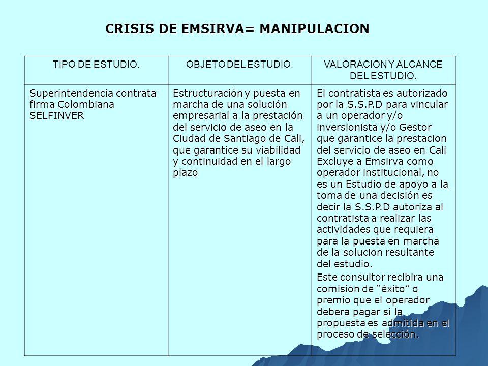 TIPO DE ESTUDIO.OBJETO DEL ESTUDIO.VALORACION Y ALCANCE DEL ESTUDIO.