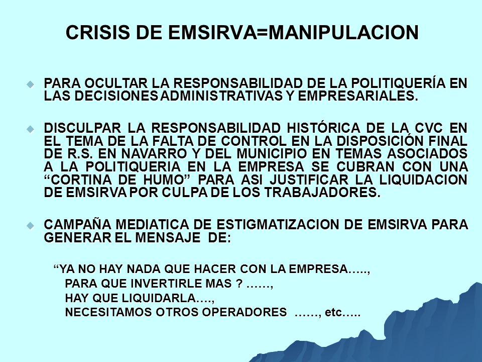 CRISIS DE EMSIRVA=MANIPULACION PARA OCULTAR LA RESPONSABILIDAD DE LA POLITIQUERÍA EN LAS DECISIONES ADMINISTRATIVAS Y EMPRESARIALES.