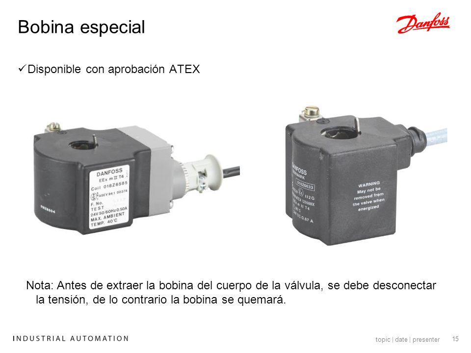 16 topic | date | presenter Danfoss recomienda que se monte la electroválvula con la bobina hacia arriba.