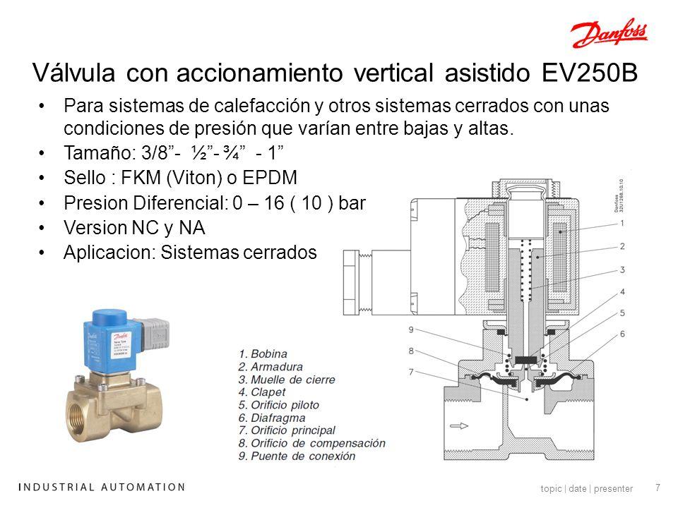 8 topic | date | presenter Válvula para Vapor EV225 Tamaño:.